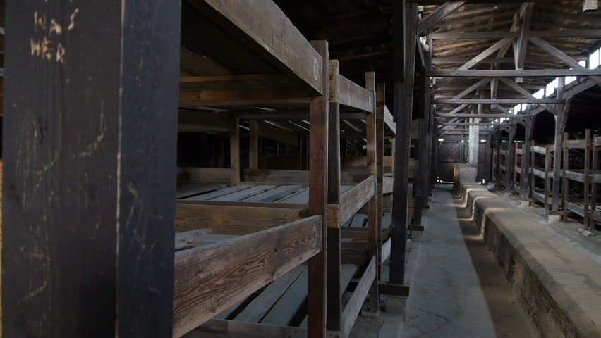 Auschwitz: Inside a barrack, with a left to right camera pan.