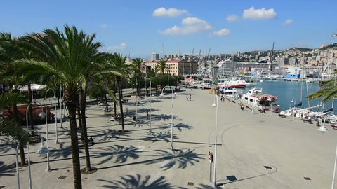 The touristic port of Genoa in Italy with some segways
