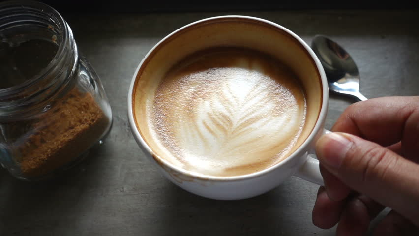 Top view of coffee latte, slow motion #21020791