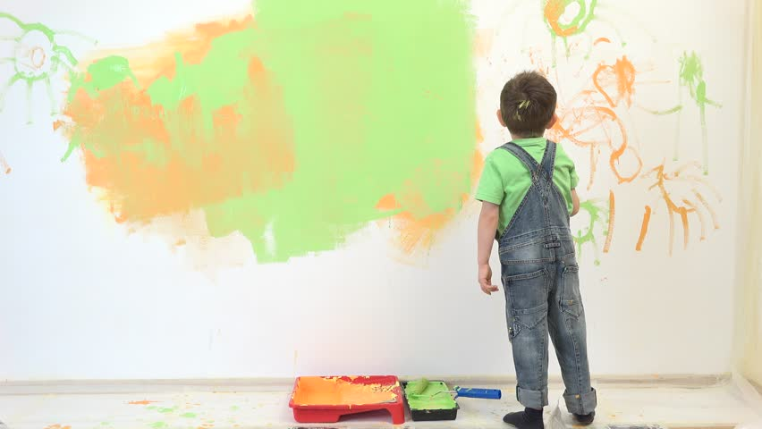 Little child painting the wall, funny boy enjoying to decorate the wall #21052798