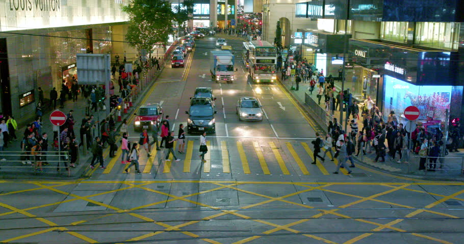 CHINA, HONG KONG - FEBRUARY 2016: Traffic At Junction With Pedder Street & Des Voeux Road; Central Hong Kong China | Shutterstock HD Video #21055864