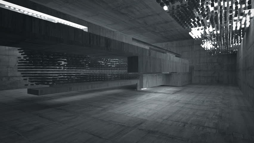 Empty dark abstract concrete room interior. Night view. 3D animation and rendering. Part 1 | Shutterstock HD Video #21077551