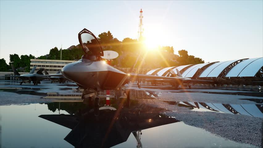 f 22 raptor, military fighter jet. military base. sunset. 3d animation.