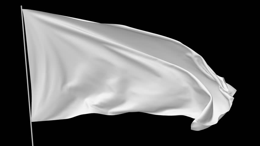 Blank plain white flag with flagpole waving in the wind, surrender flag 3D animation with alpha channel included