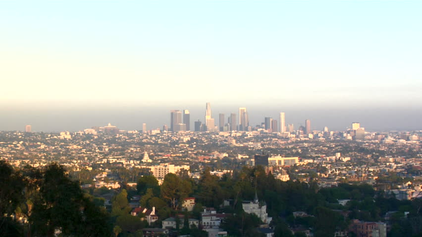 Zoom into a smoggy downtown Los Angeles Skyline   Shutterstock HD Video #211060