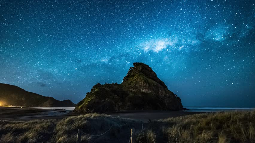 Time lapse of milky way over Piha beach, Auckland, New Zealand