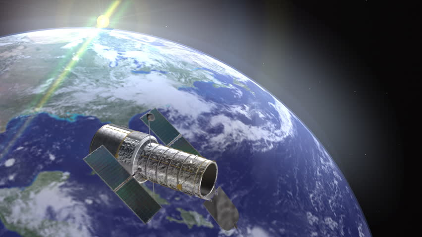 Hubble telescope on a space environment with earth as background with camera motion. Hubble Space Telescope Animation (HD). Elements of this image furnished by NASA.