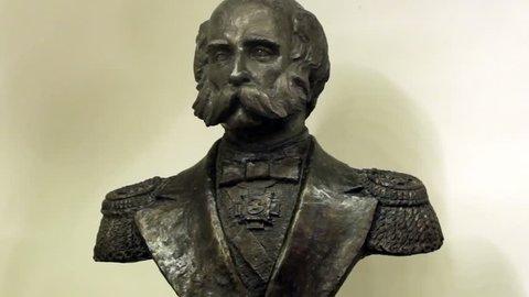 Metallic Bust Of Bearded Military General. February 2016, Saint-Petersburg, Russia