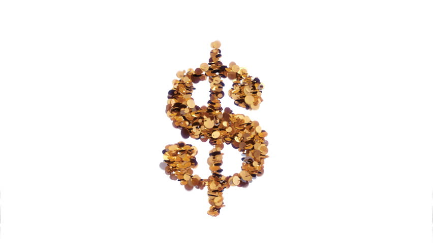 US Dollar sign made of coins exploding