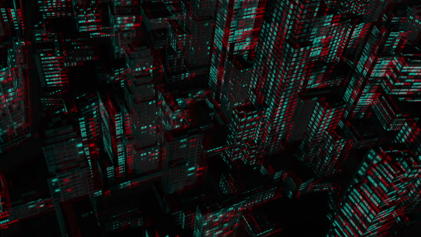 Above City Night Flight, Stereoscopic 3D Anaglyph, Red Cyan