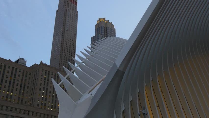 new york manhattan sunset twilight wtc oculus panorama 4k usa