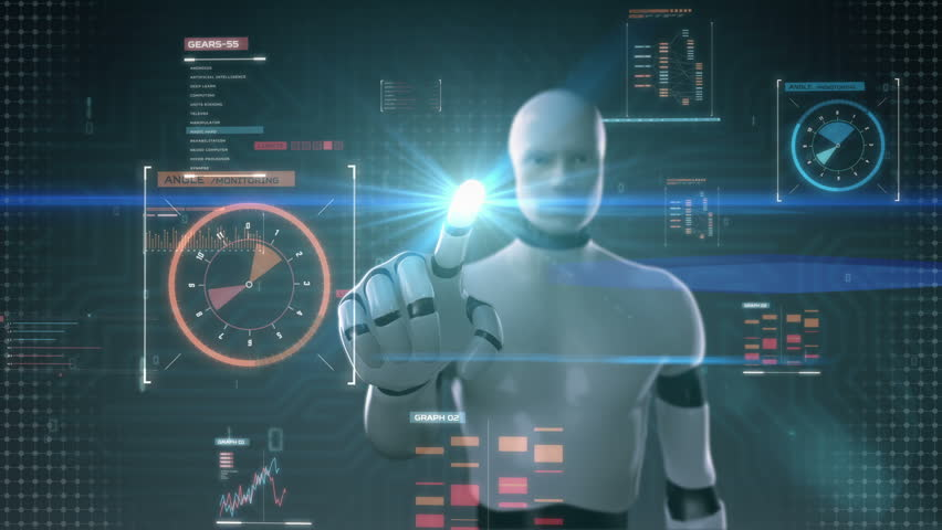 Robot cyborg touching user interface, digital display, grow artificial intelligence Royalty-Free Stock Footage #21200572