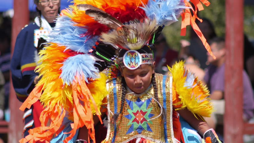 M'CHIGEENG FIRST NATION - MANITOULIN ISLAND - CANADA - 05 SEPTEMBER 2016- Unidentified Native American perfoms rithual dance during the 29th annual Pow Wow, dressed with Native American regalia