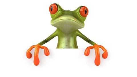 Frog with a blank sign _ HD