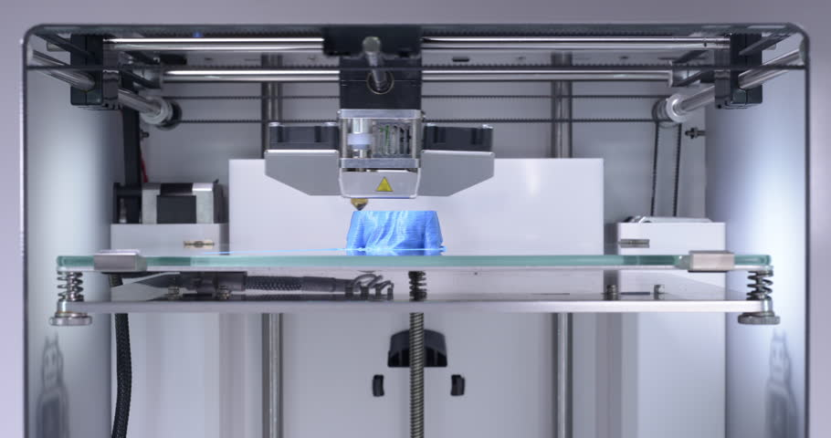 3D printer working, printing three blue busts in a row in additive manufacturing technique - continually zooming in from wide angle to close up - 4k part of a set of two, can be edited. | Shutterstock HD Video #21237265