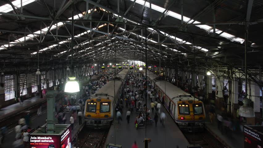 MUMBAI, INDIA - DECEMBER 15 2011: 4k footage Time lapse footage of Crowded Churchgate station.Commuters in Churchgate station Mumbai, India.