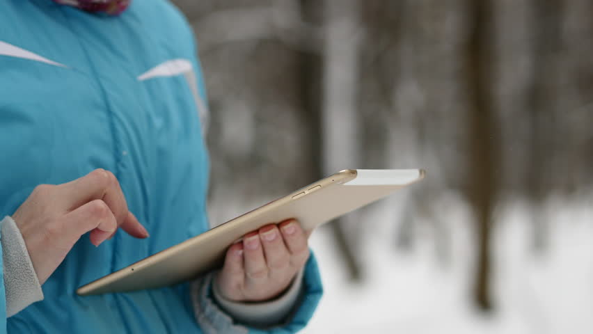 Woman Search On The Map In Tablet. Winter Forest, Snowy Weather Day | Shutterstock HD Video #21264859