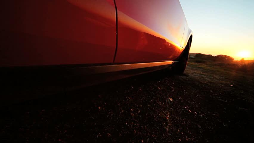 Luxury Cabriolet car parked hillside on a road trip | Shutterstock HD Video #2127125