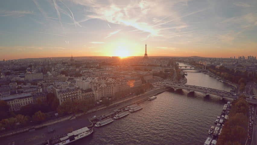 Aerial view of Paris during sunset | Shutterstock HD Video #21290803