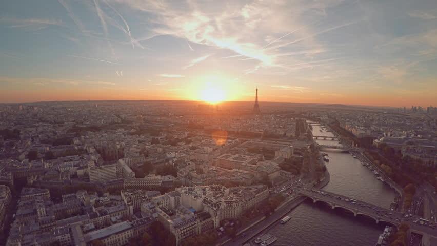 Aerial view of Paris during sunset
