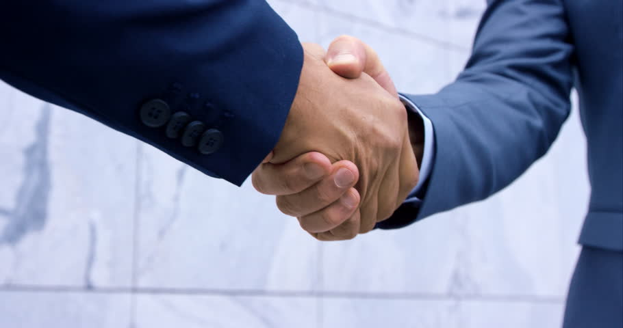 Slow-Mo Close-Up Of Standard Business Man Suit Handshake With Hands In Focus | Shutterstock HD Video #21301282