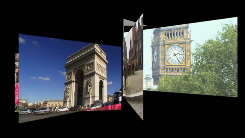 CGI Computer animation, carousel travel destinations