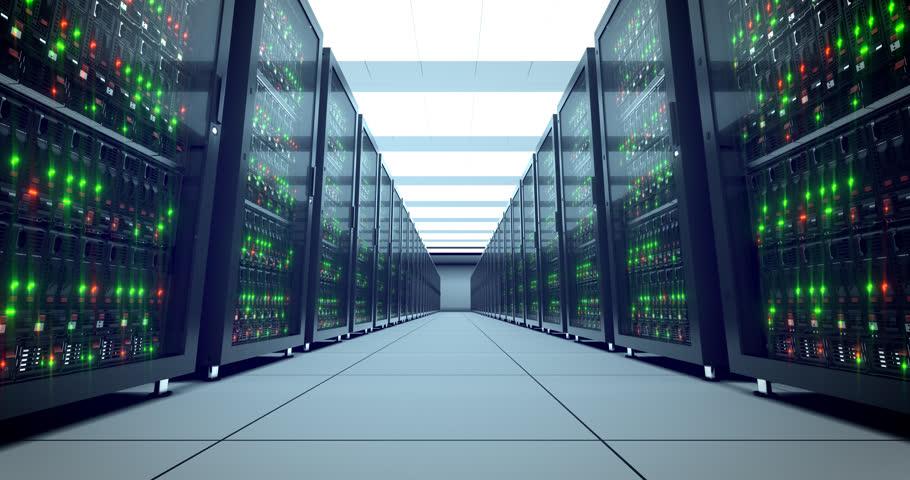 Servers racks.  Modern datacenter. Cloud computing. 4k UHD. Server in datacenter. Cloud computing data storage 3d rendering. 4k animation
