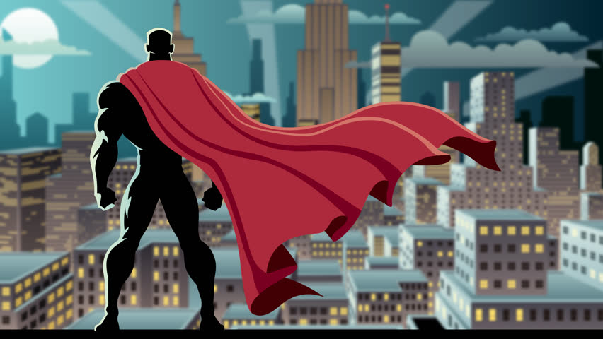 Looping animation of superhero watching over city.