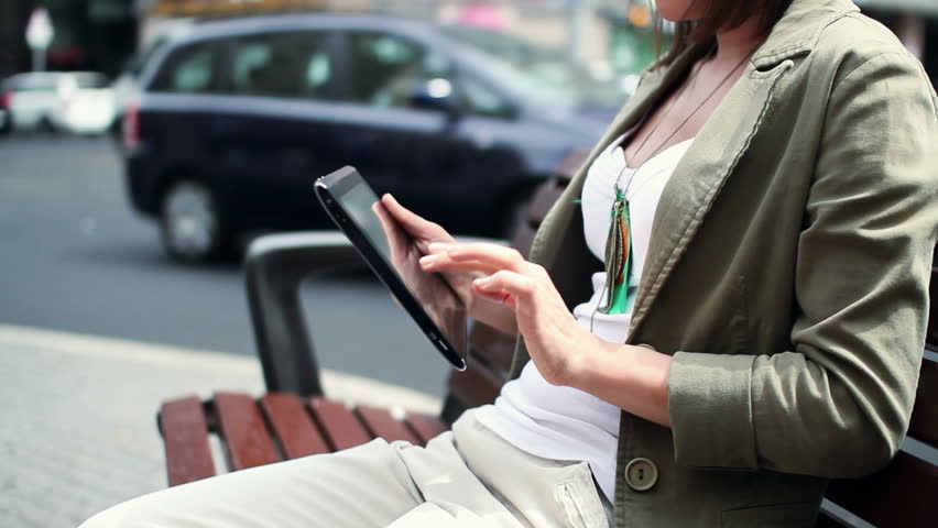 Woman hands with tablet computer in the city  | Shutterstock HD Video #2138144
