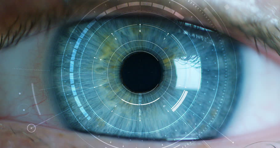 Blue eye macro implemented with virtual reality. futuristic vision of reality and concept of cyber technology. Security sistems applied to technology. Concept of web control and remote support. | Shutterstock HD Video #21398041