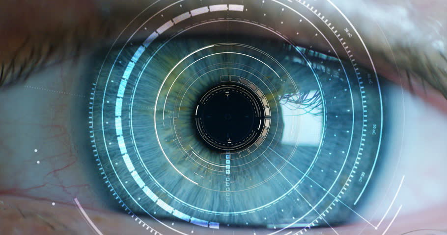Blue eye macro implemented with virtual reality. futuristic vision of reality and concept of cyber technology. Security sistems applied to technology. Concept of web control and remote support. | Shutterstock HD Video #21398047
