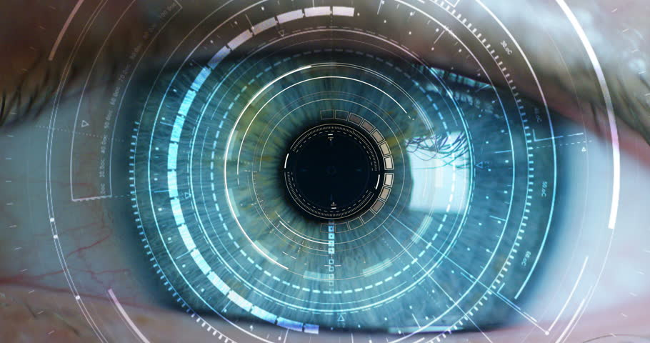 blue eye macro implemented with virtual reality. futuristic vision of reality and concept of cyber technology. Security sistems applied to technology. Concept of web control and remote support.