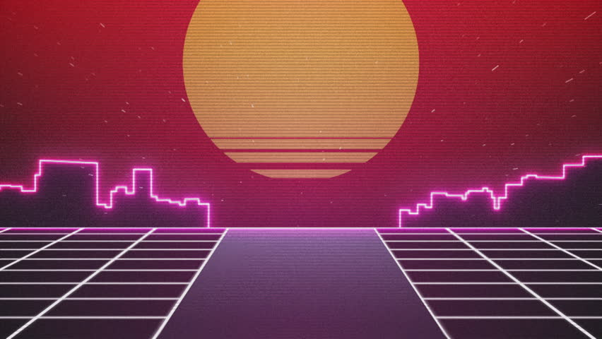 Retro Futuristic.Flight over the grid and sunset. 80s Retro Sci-fi. | Shutterstock HD Video #21398209