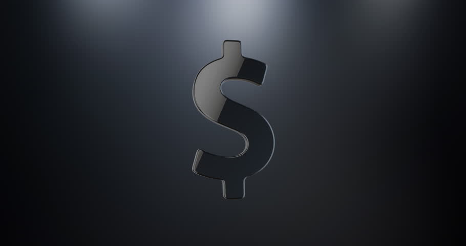 Animated Dollar Sign Black 3d Icon Loop Modules for edit with alpha matte