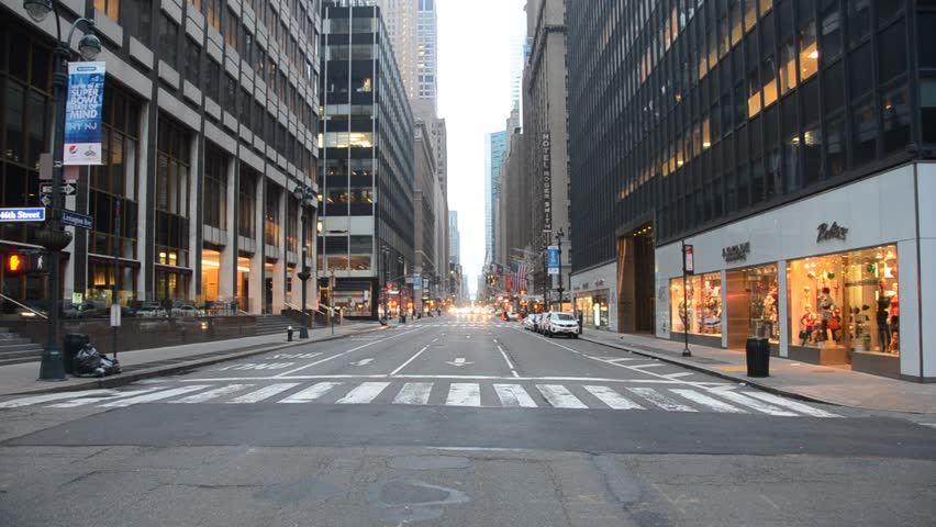 New York, United States. Circa November 2014: Manhattan during the early morning with almost no traffic and people | Shutterstock HD Video #21400699