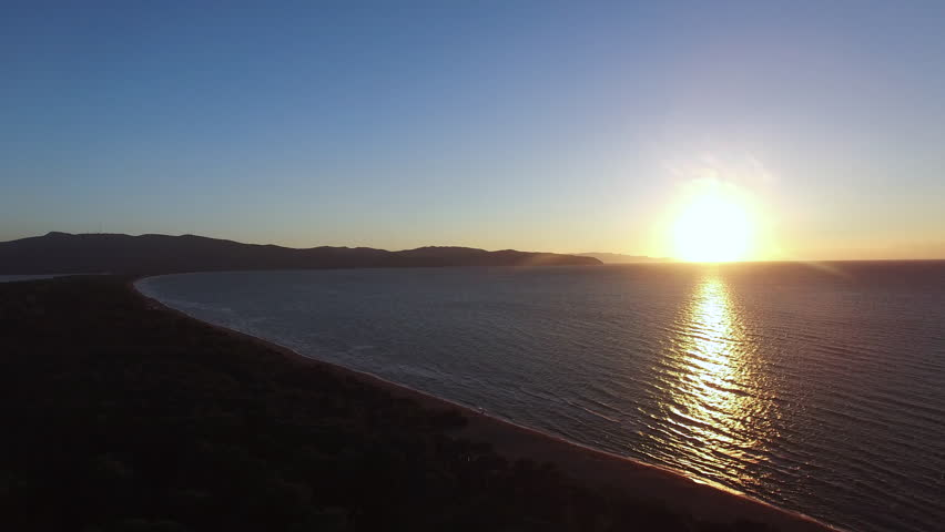 Aerial drone video over the sea at the sunset in Italy near Monte Argentario. | Shutterstock HD Video #21428806