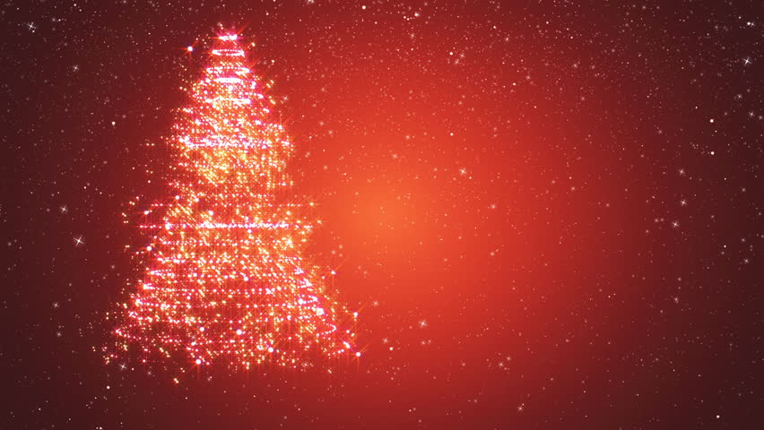 Red snowy background with a rotating Christmas tree of shiny particles. Festive background with animated text Merry Christmas and Christmas tree. Winter background with falling snowflakes.
