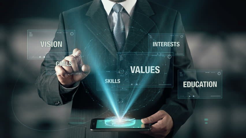 Businessman with Success concept choose Goals from Vision Values Skills Education Interests using digital tablet | Shutterstock HD Video #21477052