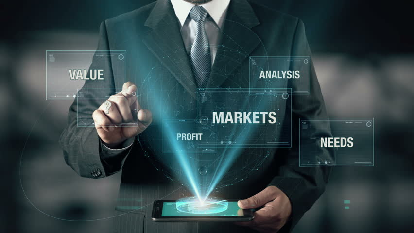 Businessman with Sales Target concept choose from Profit Analysis Needs Markets Value using digital tablet | Shutterstock HD Video #21477304
