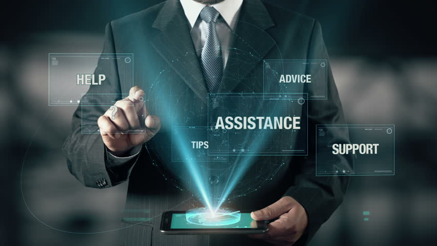 Businessman with Solution concept choose from Support Assistance Advice Help Tips using digital tablet | Shutterstock HD Video #21477358