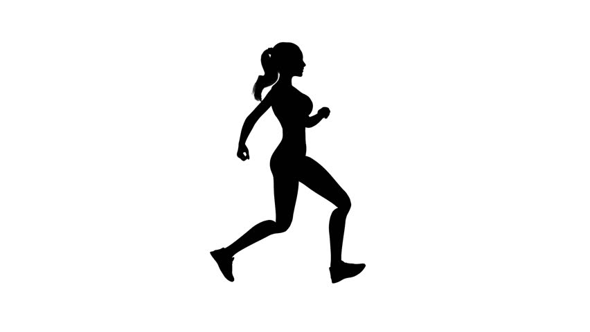 Animated silhouette young woman running on the white background. Alpha matte channel included. Seamless loop animation. 4K Resolution (Ultra HD). Other versions available - view my portfolio.