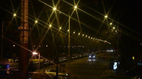 Belgrade, Serbia. Circa December 2013: Traffic during the night
