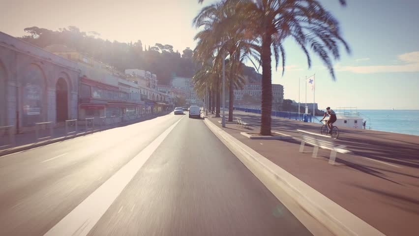 Driving through Nice, France, along Promenade des Anglais