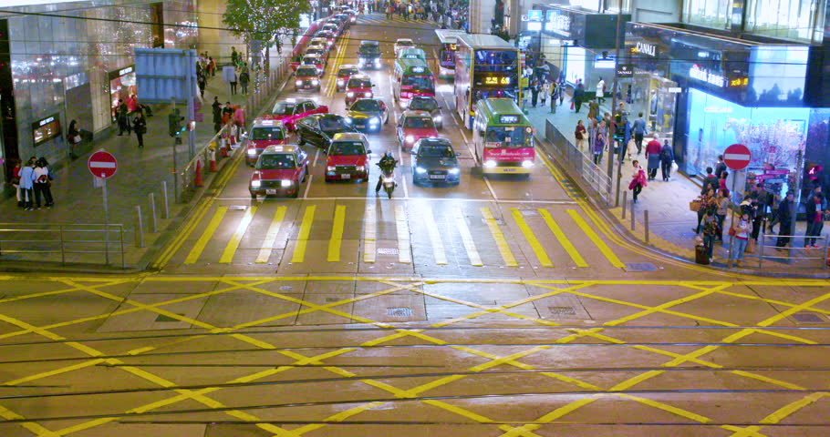 CHINA, HONG KONG - FEBRUARY 2016: Traffic At Junction With Pedder Street & Des Voeux Road; Central Hong Kong China | Shutterstock HD Video #21539134