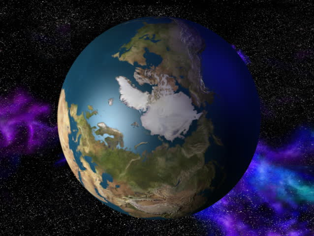 Computer-generated 3D animation loop depicting the spinning Earth (Arctic view) | Shutterstock HD Video #21584