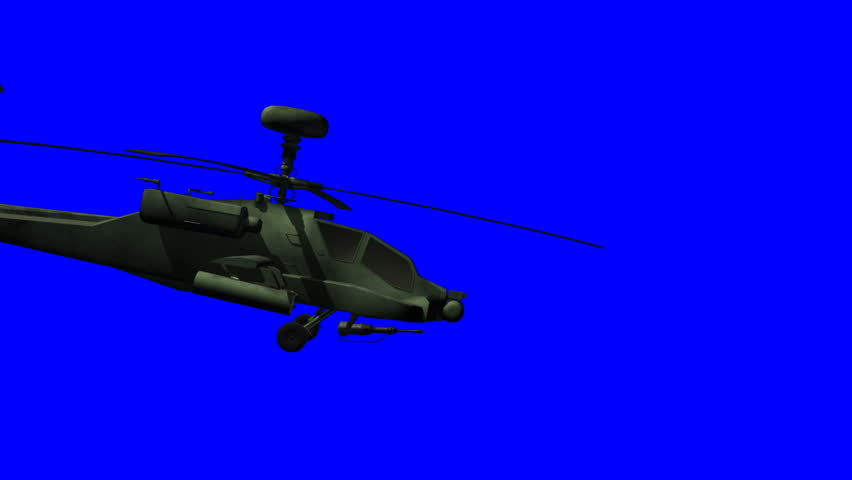 Animation of an Apache helicopter passing by including bluescreen.