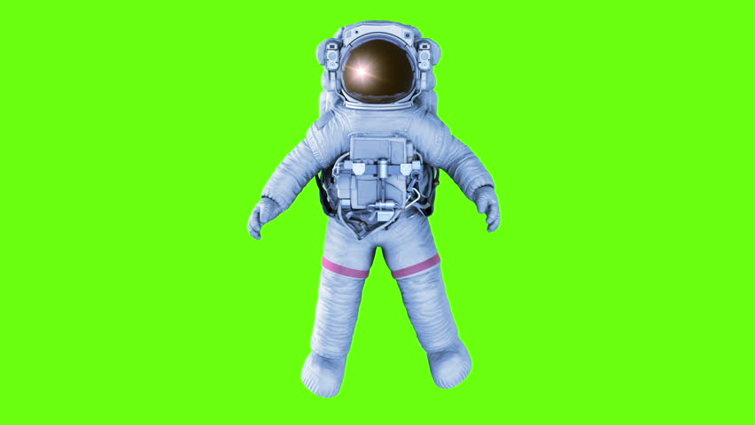 Spinning Astronaut. seamless looping 3d animation on a green screen, black and stars backgrounds, full HD 1080
