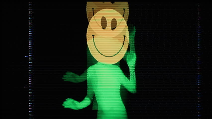 a sexy woman with a large acid smiley face emoticon on her head dancing around. this version has been distorted with video glitches and effects