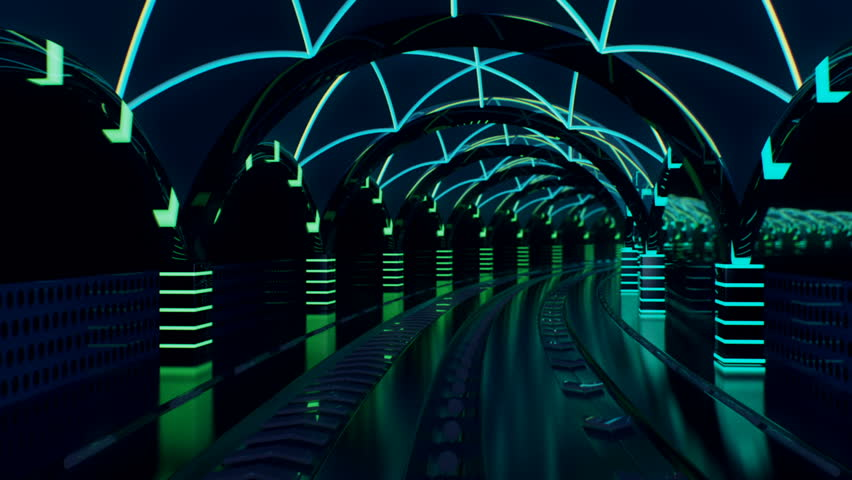 Neon rapid transit line with streaking glowing neon light rails in a seamless loop. Use in music videos, broadcast, tv, film, editing, live visuals, VJ loops, shows, or art. #21648778