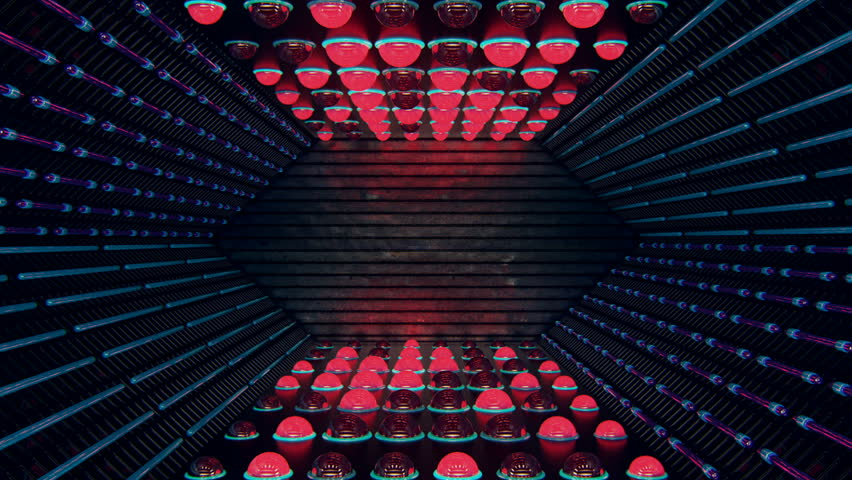 Virtual set of futuristic bay with glowing neon lights and blinking spherical lights in a seamless loop. Use in music videos, broadcast, tv, film, editing, live visuals, VJ loops, shows, or art. #21648790